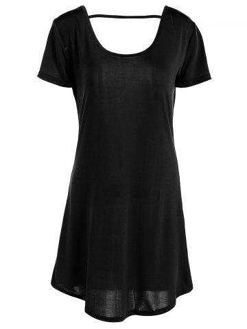 Outfits Hollow Out Tunic Tee Casual Dress BLACK M