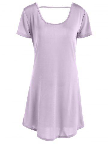 Sale Hollow Out Tunic Tee Casual Dress