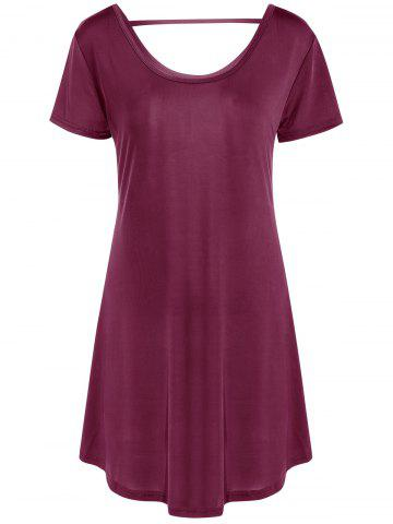 Hot Hollow Out Tunic Tee Casual Dress WINE RED M