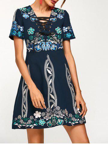 Trendy Flower Embroidered Criss-Cross Swing Dress