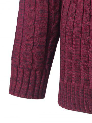 Chic Shawl Collar Button Up Twist Striped Texture Cardigan - 3XL WINE RED Mobile