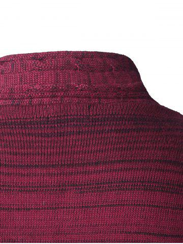 Outfits Shawl Collar Button Up Twist Striped Texture Cardigan - 3XL WINE RED Mobile