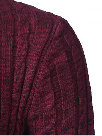 Chic Shawl Collar Button Up Twist Striped Texture Cardigan - 2XL WINE RED Mobile