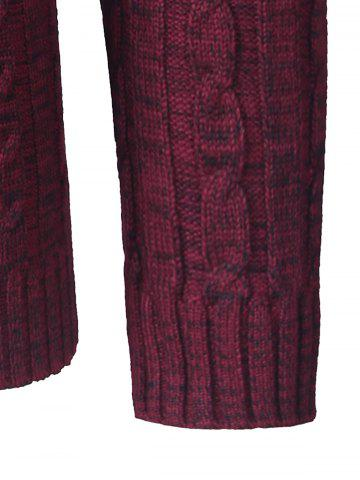 Trendy Shawl Collar Button Up Twist Striped Texture Cardigan - L WINE RED Mobile