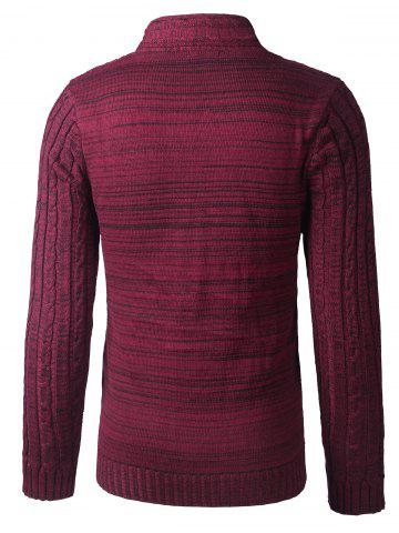 Latest Shawl Collar Button Up Twist Striped Texture Cardigan - L WINE RED Mobile