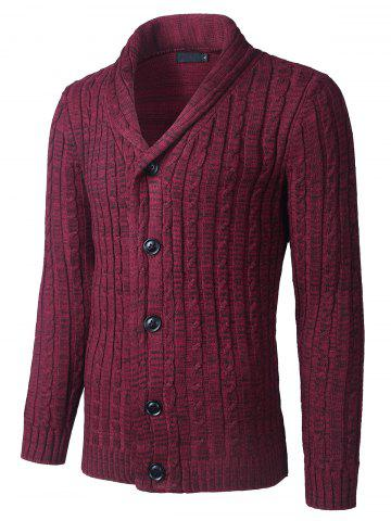 Chic Shawl Collar Button Up Twist Striped Texture Cardigan - L WINE RED Mobile
