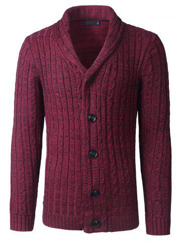 Sale Shawl Collar Button Up Twist Striped Texture Cardigan - L WINE RED Mobile