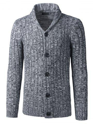 Latest Shawl Collar Button Up Twist Striped Texture Cardigan - 3XL GRAY Mobile