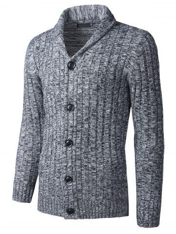 Sale Shawl Collar Button Up Twist Striped Texture Cardigan - M GRAY Mobile