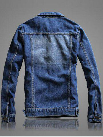 Outfit Pocket Front Long Sleeve Denim Jacket - 2XL BLUE Mobile