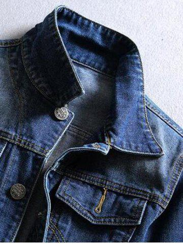 Online Pocket Front Long Sleeve Denim Jacket - 2XL BLUE Mobile