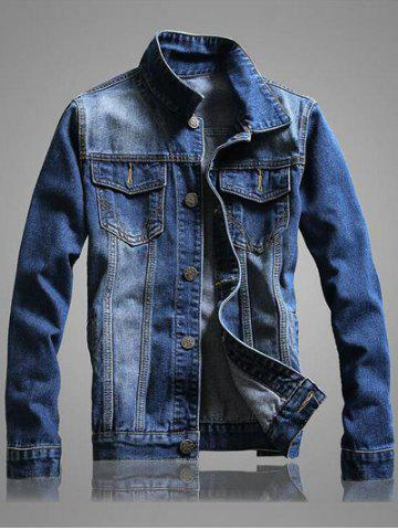 Cheap Pocket Front Long Sleeve Denim Jacket - 2XL BLUE Mobile