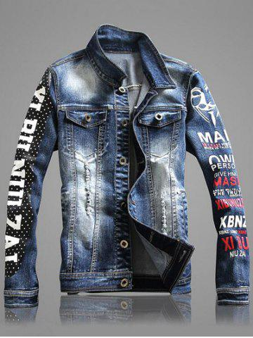 Store Multi-Pocket Letter Print Distressed Denim Jacket - 2XL BLUE Mobile