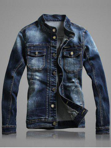 Shops Long Sleeve Front Pocket Denim Jacket - 2XL BLUE Mobile