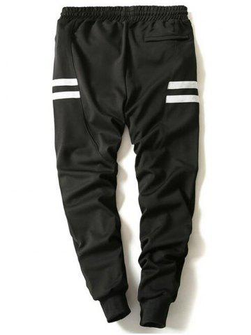 Shop Drawstring Stripe Printed Beam Feet Jogger Pants - L BLACK Mobile