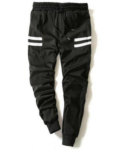 Store Drawstring Stripe Printed Beam Feet Jogger Pants - L BLACK Mobile