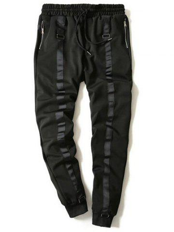 Outfits Drawstring Zip Stripe Embellished Beam Feet Jogger Pants - M BLACK Mobile