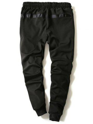 New Drawstring Zip Stripe Embellished Beam Feet Jogger Pants - M BLACK Mobile