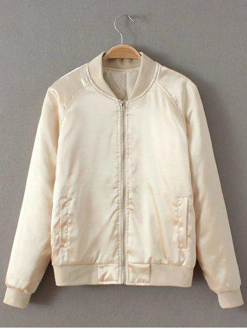Fancy Preppy Stain Bomber Jacket - CHAMPAGNE M Mobile