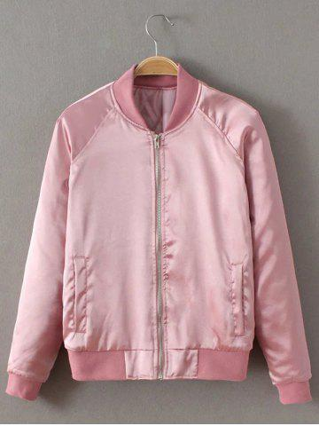 Cheap Preppy Stain Bomber Jacket - L PINK Mobile