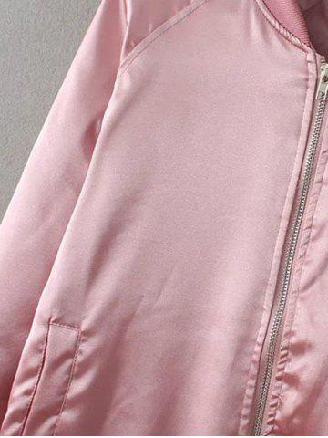 Latest Preppy Stain Bomber Jacket - PINK S Mobile