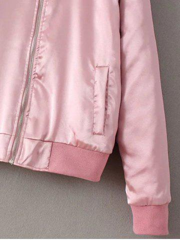 Outfits Preppy Stain Bomber Jacket - PINK S Mobile