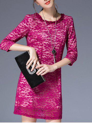 Affordable 3/4 Sleeve Round Pleated Collar Lace Dress ROSE MADDER L