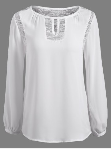 Store Lace Splicing Puff Sleeve Keyhole Blouse WHITE XL