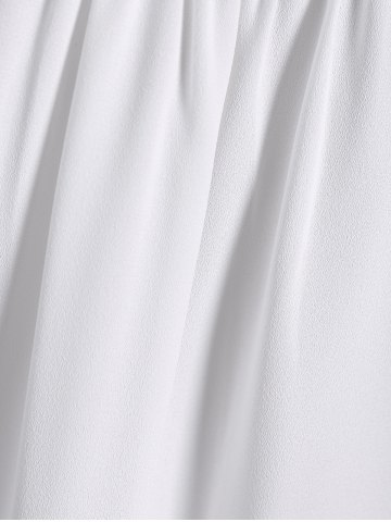 New Lace Splicing Puff Sleeve Keyhole Blouse - S WHITE Mobile