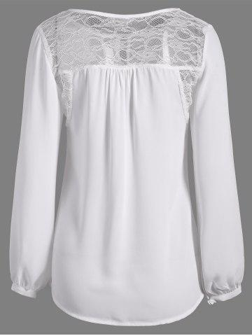Discount Lace Splicing Puff Sleeve Keyhole Blouse - S WHITE Mobile