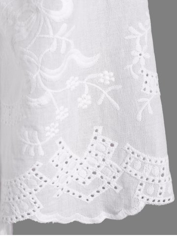 Sale Openwork Flower Embroided Flare Sleeve Pleated Blouse - L WHITE Mobile