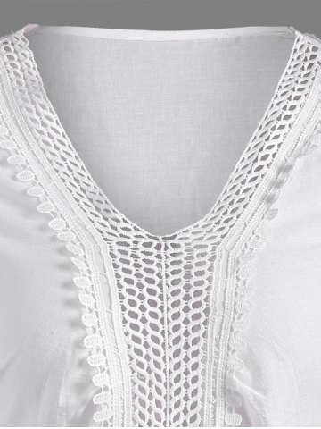 Fashion Openwork Flower Embroided Flare Sleeve Pleated Blouse - L WHITE Mobile