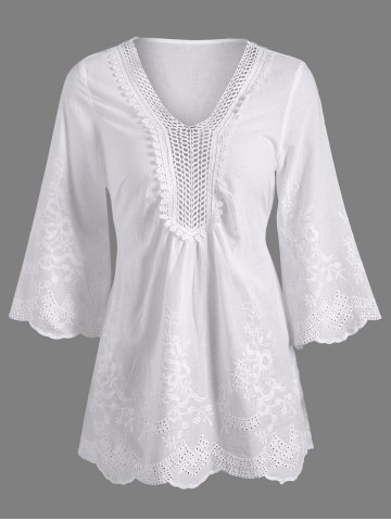 Openwork Flower Embroided Flare Sleeve Pleated Blouse - White - L
