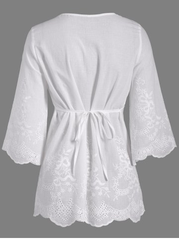 New Openwork Flower Embroided Flare Sleeve Pleated Blouse - L WHITE Mobile