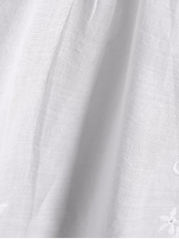 Latest Openwork Flower Embroided Flare Sleeve Pleated Blouse - M WHITE Mobile