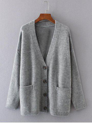 Sale Button Up Sweater Coat with Pockets -   Mobile