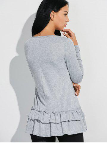 Chic Layered Ruffles Long Sleeve T-Shirt - L GRAY Mobile