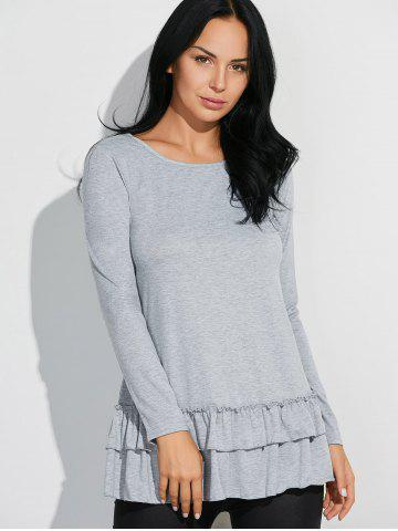 Shops Layered Ruffles Long Sleeve T-Shirt - L GRAY Mobile