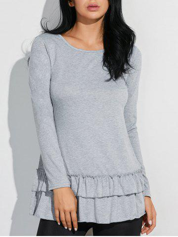 Hot Layered Ruffles Long Sleeve T-Shirt - L GRAY Mobile