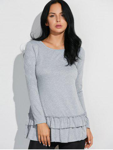 Best Layered Ruffles Long Sleeve T-Shirt - L GRAY Mobile