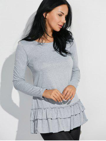 Chic Layered Ruffles Long Sleeve T-Shirt - M GRAY Mobile