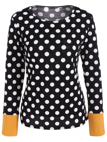 Chic Scoop Neck Polka Dot Patchwork Sleeve T-Shirt - L BLACK Mobile