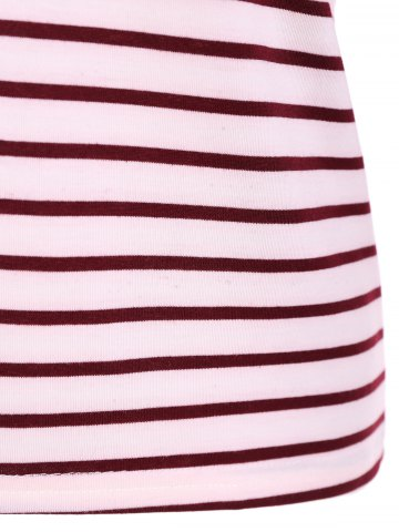 Store Scoop Neck Striped Back Patchwork T-Shirt - L RED Mobile