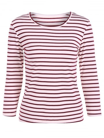 Fashion Scoop Neck Striped Back Patchwork T-Shirt - L RED Mobile