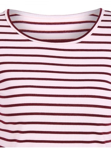 Fancy Scoop Neck Striped Back Patchwork T-Shirt - M RED Mobile