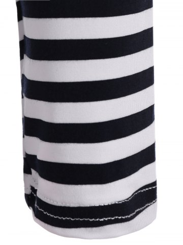 Cheap Round Neck Striped Patchwork T-Shirt - M WHITE AND BLACK Mobile