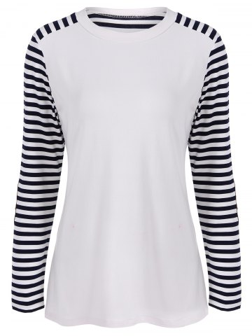 Buy Round Neck Striped Patchwork T-Shirt - M WHITE AND BLACK Mobile