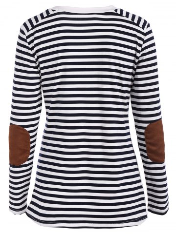 Best Round Neck Striped Patchwork T-Shirt - S WHITE AND BLACK Mobile