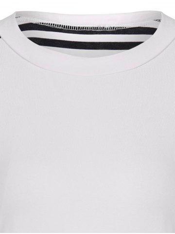Cheap Round Neck Striped Patchwork T-Shirt - S WHITE AND BLACK Mobile