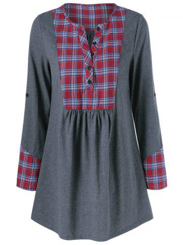 Hot Plaid Trim Adjustable Sleeve T-Shirt GRAY/RED XL